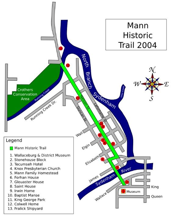 Map of Heritage Walk- Mann Historic Trail