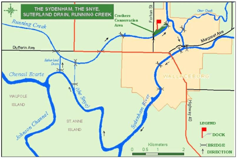 Map of Water Trail- Sydenham, The Snye, Sutherland Drain & Running Creek